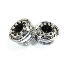 Semi Truck Alum. Front Wheels Chrome Mirror (pair)