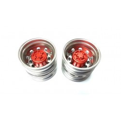 Semi Truck Alum. Rear Wheels Red (pair)