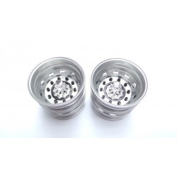 Alum. Truck Rear Wheels Chrome Center w/black nut (pair)