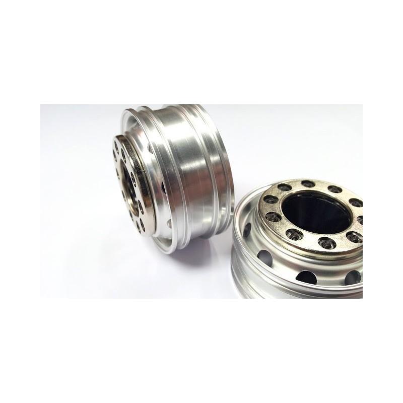 Semi Chrome Wheel Covers : Semi truck alum front wheels silver w chrome cover pair