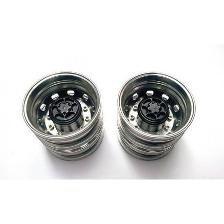 Semi Truck Alum. Rear Wheels Silver (pair)